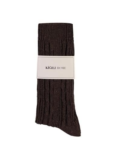 Kiğılı Desenli Triko Çorap Kahve